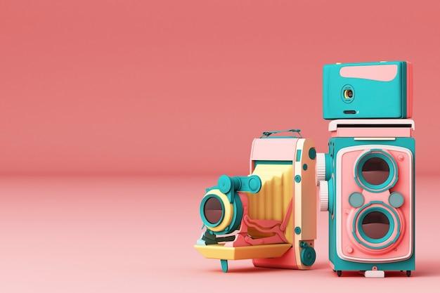 Câmera vintage colorida em um fundo rosa