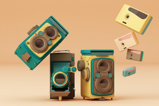 Câmera vintage colorida sobre um fundo creme.