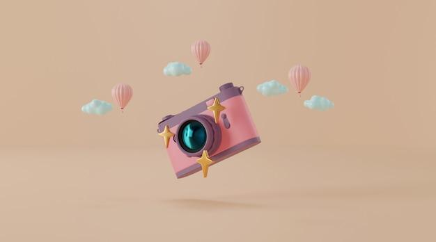 Câmera vintage com ilustração 3d de balão e nuvens