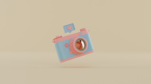 Câmera vintage com notificação de mídia social.
