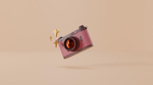 Câmera vintage em renderização de ilustração 3d