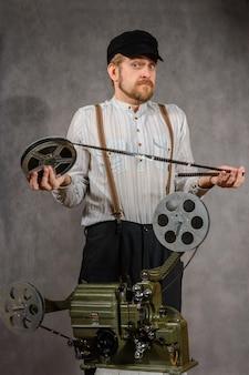 Cameraman com projeção de filme