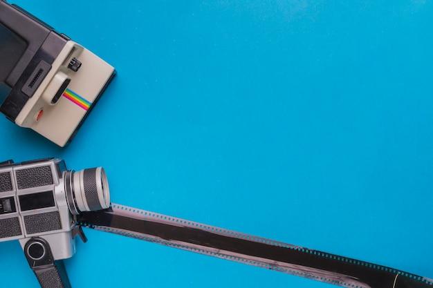 Câmeras vintage com celulóide