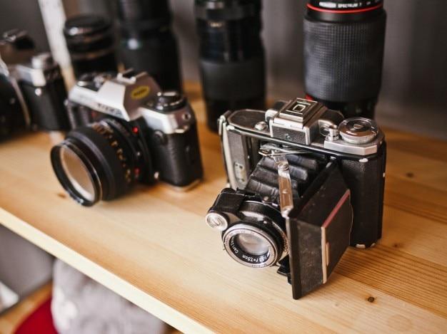Câmeras vintage exposta