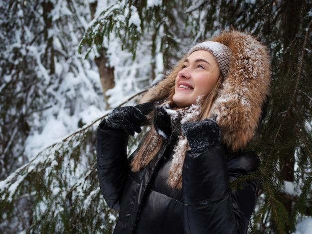 Caminhada de inverno pela floresta, bela floresta de pinheiros coberta de neve.