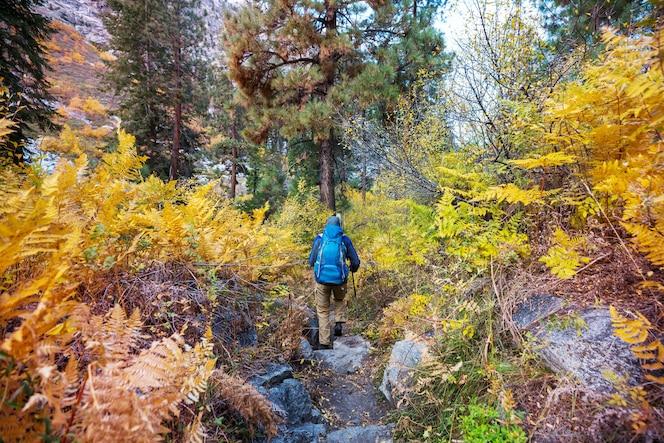Caminhada nas montanhas de outono