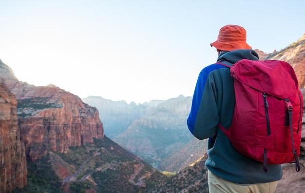 Caminhada no parque nacional de zion. homem a pé na trilha no parque nacional de zion, utah. as costas viraram nenhum rosto visível.