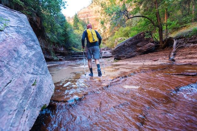 Caminhada no parque nacional de zion, homem caminhando no estreito de zion com o rio vrgin na temporada de verão, parque nacional de zion, utah