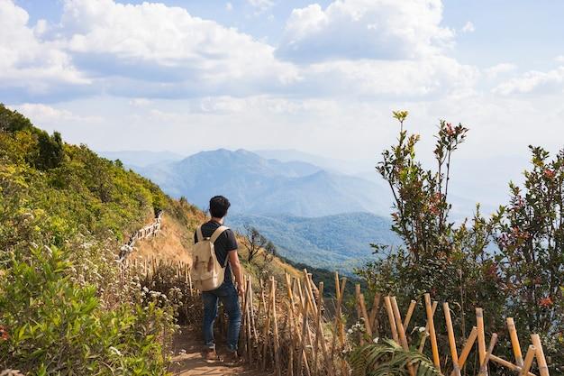 Caminhante, montanha, panorama