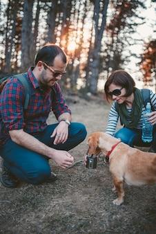 Caminhantes dando água para seu cachorro na floresta