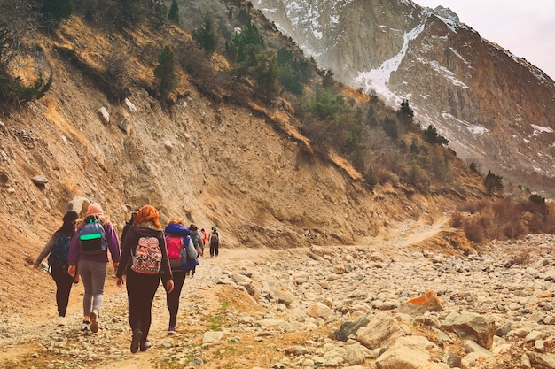 Caminhantes nas montanhas. grupo de amigos ou turistas caminha no ponto de vista de montanhas.