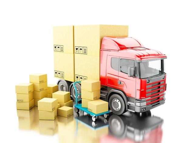 Caminhão 3d com caixas de papelão e carrinho de mão