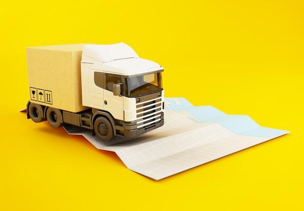 Caminhão 3d com caixas de papelão no mapa da cidade de papel.