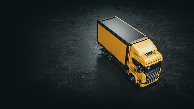 Caminhão amarelo em um fundo preto. caminhão amarelo renderização e ilustração 3d.