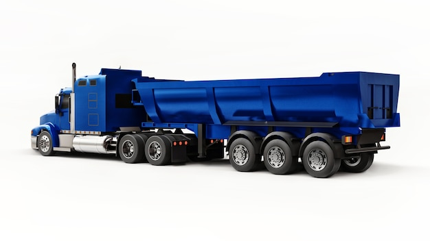 Caminhão americano azul grande com caminhão basculante tipo reboque para o transporte de carga a granel em um fundo branco. ilustração 3d.
