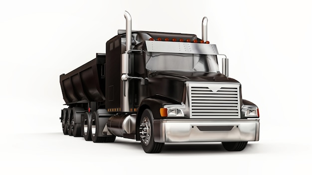 Caminhão americano preto grande com caminhão basculante tipo reboque para transporte de carga a granel em um fundo branco. ilustração 3d.