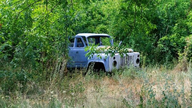Caminhão azul abandonado com portas abertas na floresta