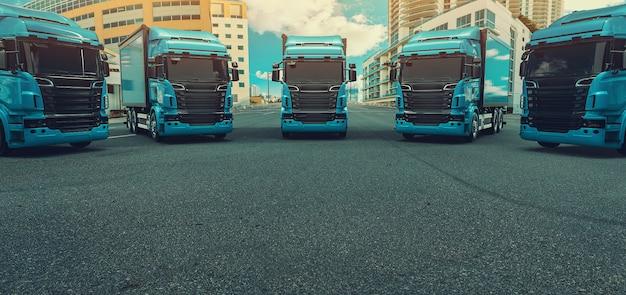 Caminhão azul estacionado na estrada.