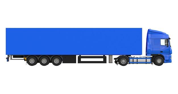 Caminhão azul grande com semi-reboque. modelo para colocar gráficos. renderização 3d.
