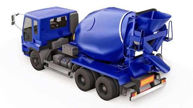 Caminhão betoneira azul fundo branco renderização em 3d