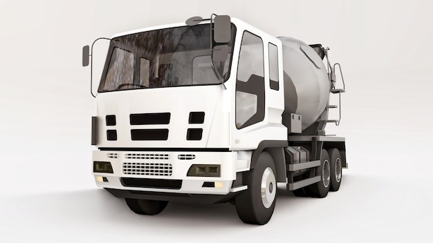 Caminhão betoneira com cabine branca e misturador cinza em fundo branco. ilustração tridimensional de equipamentos de construção. renderização 3d.