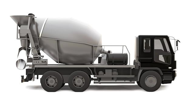 Caminhão betoneira com cabine preta e misturador cinza no branco