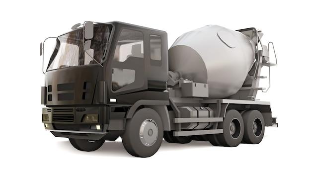 Caminhão betoneira com cabine preta e misturador cinza sobre fundo branco. ilustração tridimensional de equipamentos de construção. renderização 3d.