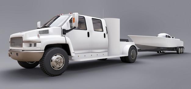 Caminhão branco com reboque para transporte de barco de corrida em cinza