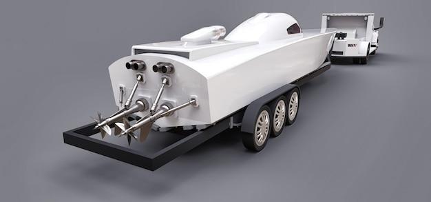 Caminhão branco com um reboque para transportar um barco de corrida em um espaço cinza. renderização em 3d.