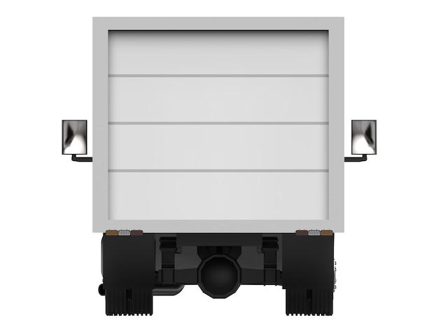 Caminhão branco pequeno. serviço de entrega de automóveis. entrega de mercadorias e produtos em pontos de venda. renderização 3d.