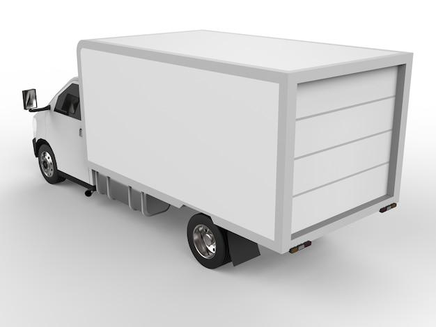 Caminhão branco pequeno. serviço de entrega de carros. entrega de mercadorias e produtos aos pontos de venda