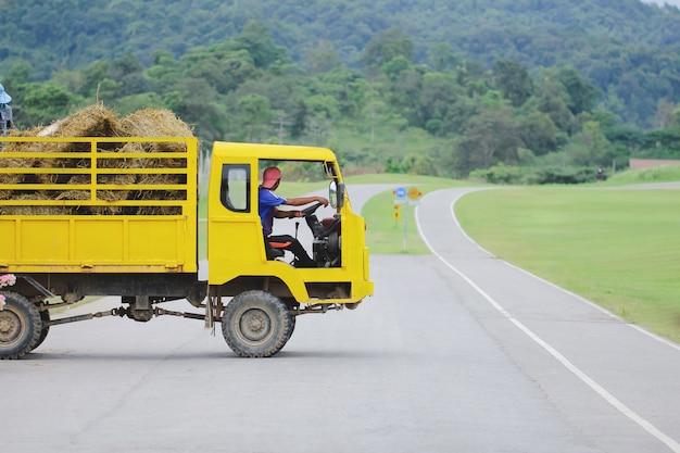 Caminhão carregando a carga de fardos de feno. cena agrícola no interior do outback