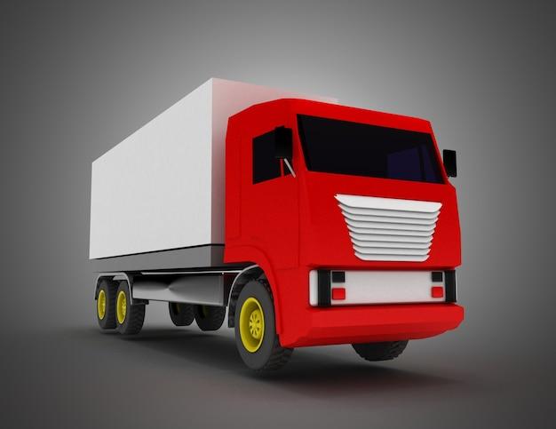 Caminhão com container. ilustração 3d