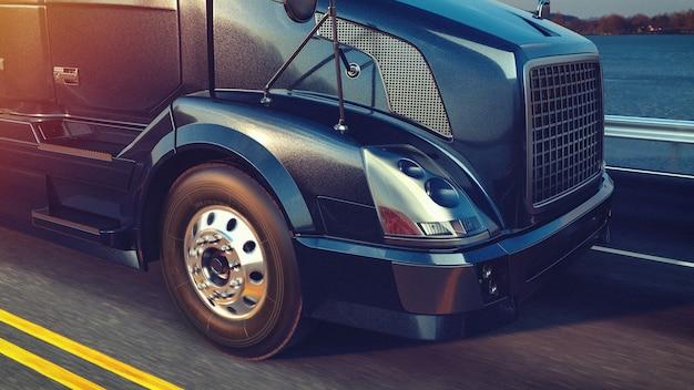 Caminhão de cabeçalhos em execução. renderização 3d e ilustração.