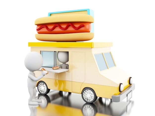 Caminhão de comida de cachorro-quente 3d com pessoas brancas