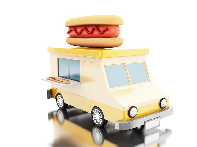 Caminhão de comida de cachorro-quente 3d