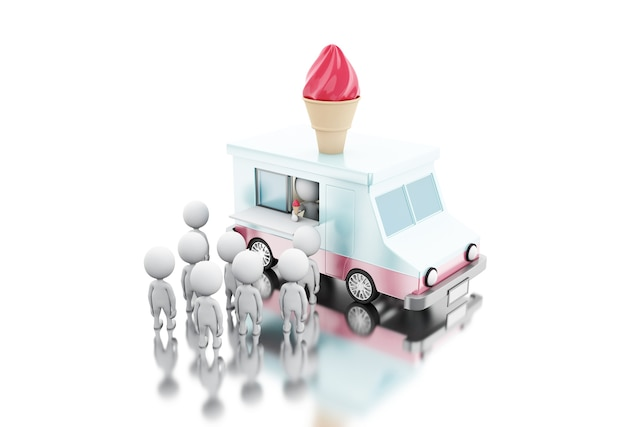 Caminhão de comida de sorvete 3d com pessoas brancas esperando na fila