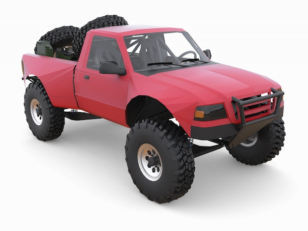 Caminhão de corrida esportivo vermelho mais preparado para o terreno desértico