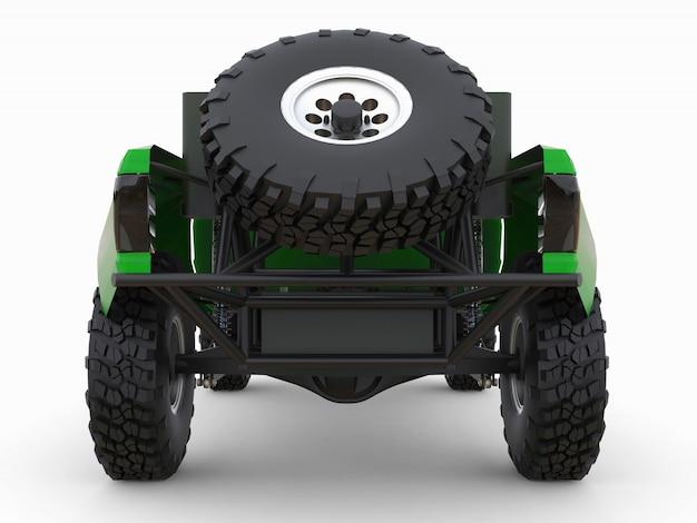 Caminhão de corrida verde mais preparado para o terreno do deserto. ilustração 3d