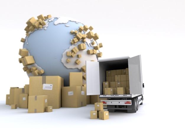 Caminhão de descarga em um contexto de transporte internacional