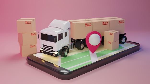 Caminhão de entrega 3d carregado com uma caixa de papelão e smartphone com ponteiro de mapa. entrega e conceito de serviço de transporte.