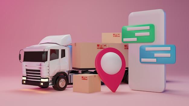 Caminhão de entrega carregado com uma caixa de papelão e smartphone com ponteiro de mapa.