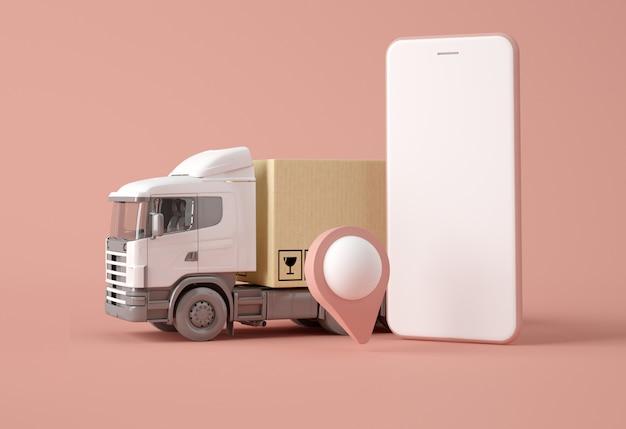 Caminhão de entrega com caixas, ponteiro de mapa e smartphone