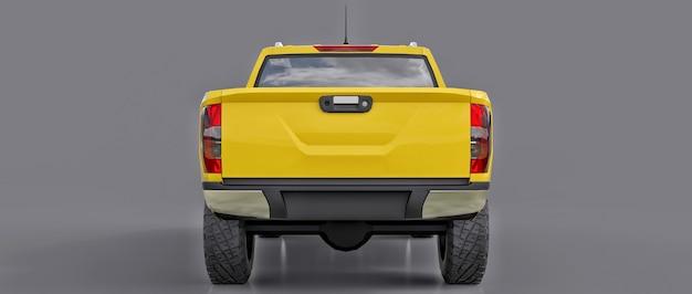 Caminhão de entrega de veículo comercial amarelo com cabine dupla. máquina sem insígnia com corpo vazio e limpo para acomodar seus logotipos e etiquetas. renderização 3d.