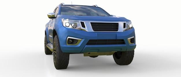 Caminhão de entrega de veículo comercial azul com cabine dupla. máquina sem insígnia com corpo vazio e limpo para acomodar seus logotipos e etiquetas. renderização 3d.