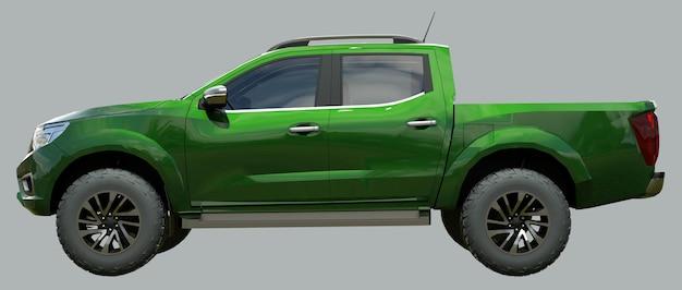 Caminhão de entrega de veículo comercial verde com renderização 3d de cabine dupla