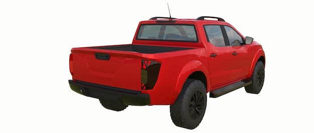 Caminhão de entrega de veículo comercial vermelho com cabine dupla