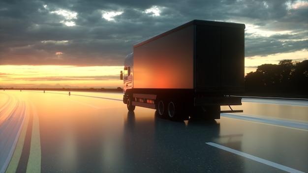 Caminhão de entrega na estrada, renderização em 3d