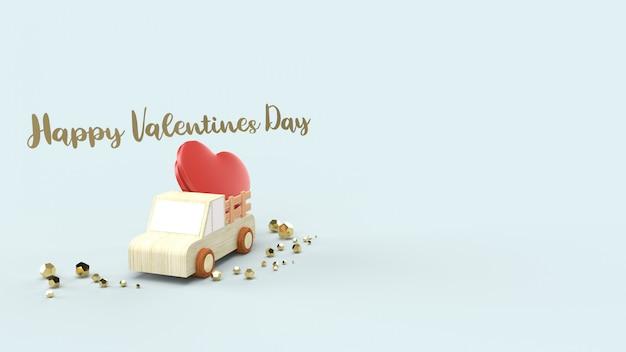 Caminhão de madeira e corações vermelhos para o dia dos namorados.