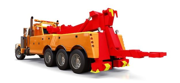 Caminhão de reboque de carga laranja para transportar outros caminhões grandes ou várias máquinas pesadas. renderização 3d. Foto Premium